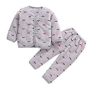 Babes Girls De Manga Larga Otoño Coral Polar Pijama Cálido Top + Pantalones De Dos Piezas Hacen Que Su Bebé Sea Más Atractivo Traje Gris Oscuro_6 Millones_China 7