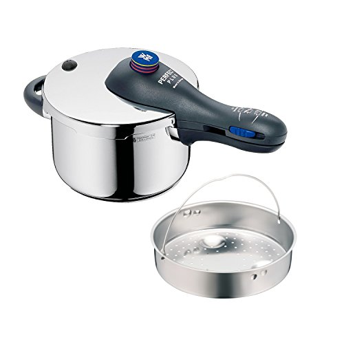 WMF Perfect Plus Schnellkochtopf 2,5l mit Einsatz, Cromargan Edelstahl poliert, 2 Kochstufen Einhand-Kochstufenregler, induktionsgeeignet, spülmaschinengeeignet, Ø 18 cm