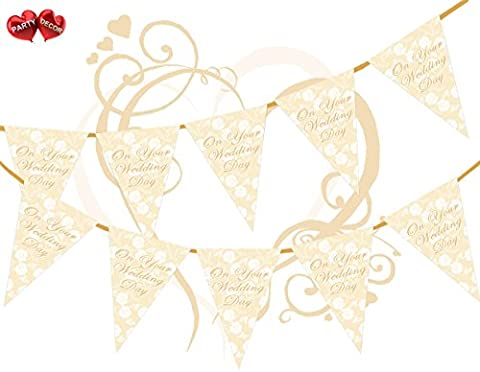 On Your Wedding Day Lace Roses Theme Bunting Banner 15 flags 12ft Ivory Cream for guaranteed simply stylish party decoration by PARTY