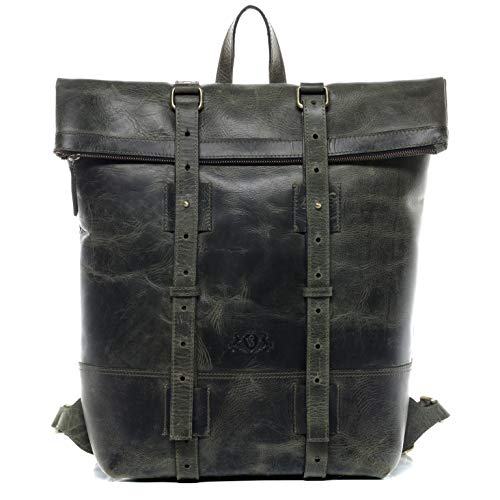 SID & VAIN Rucksack Leder CHAZ groß Backpack Tagesrucksack Kurierrucksack Herren Lederrucksack mit gepolstertem Gerätefach bis 15,4' grün