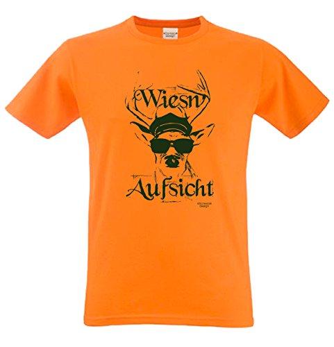 Shirt T-Shirt Geschenkidee Geburtstagsgeschenk Wiesn - Aufsicht Bierzelt Oktober-Fest kurzarm Farbe: orange Orange