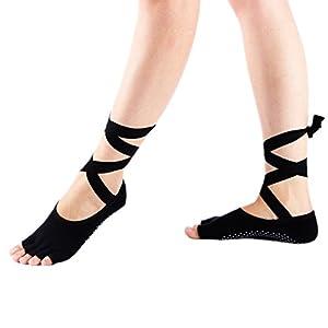Maybesky Yoga Socken Anti-Rutsch-Tanz Bandage Socken für Frauen Pilates, Anti-Rutsch-Slip-Socken