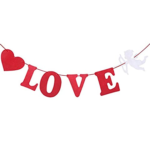 Tinksky J'AIME VOUS Bannière de la Saint-Valentin avec petit ange Cupidon et forme de coeur Bridal Bunting Garland Hanging Décorations pour mariage Engagement Anniversaire Courtship Marriage Proposal Party