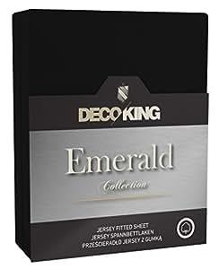 DecoKing 18637 Wasserbett Spannbettlaken 160 x 200 - 180 x  200 cm Jersey Baumwolle Spannbetttuch Emerald Collection, schwarz