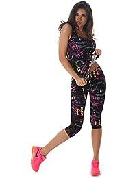 Zweiteiler Damen Sporttop und Sportleggings 3/4 lang Zweiteiler verschiedene Farben und Größen Sportshirt und Sporthose Trainingsanzug Sport-Outfit Lauf-Outfit Gym Jogging Fitness