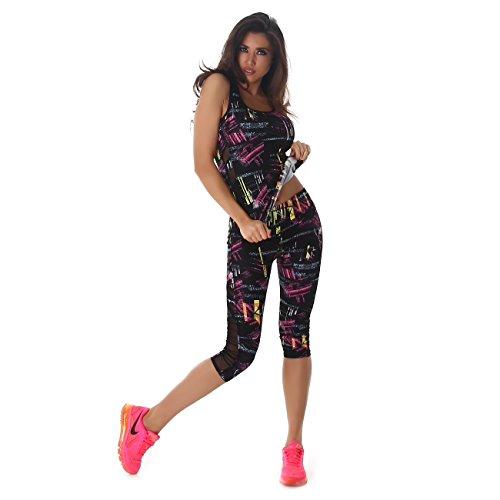 Damen Fitness Zweiteiler Capri Sport-Leggings und Sport-Top als Fitness-Anzug - verschiedene Muster