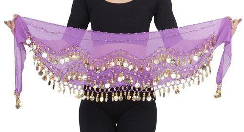 Kostüm Tanzschule - MyBeautyworld24 Belly Dance Bauchtanz Hüfttuch Kostüm 128 goldfarbenen Münzen Münzgürtel Gürtel in lila NEU