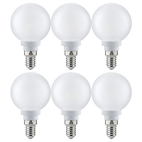 6 x Paulmann LED mini Globe G60 2,5W fast 25W E14 Satin satiniert 60mm satiniert warmweiß 2700K (2.5 Watt)