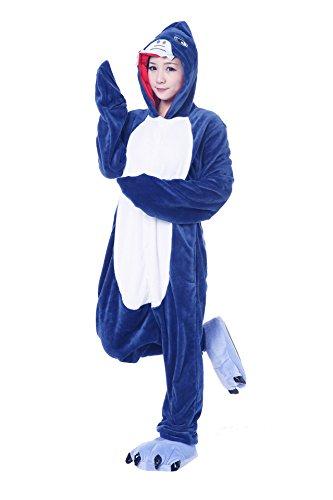 Honeystore Unisex Erwachsene Jumpsuit Siamesische Kleidung Hai Pyjamas Freizeitkleidung Kostüm Cosplay (Family Kostüme Minion)
