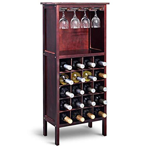 Costway cantinetta portabottiglie in legno, scaffale per vino con portabicchiere/calici (marrone rossastro)