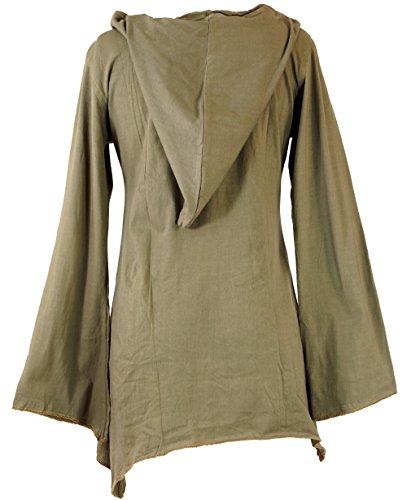 Guru-Shop Elfen Shirt Goa-chic, Elfentunika, Damen, Baumwolle, Pullover, Longsleeves & Sweatshirts Alternative Bekleidung Beige