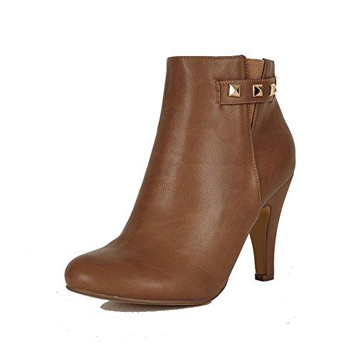 Ladies moyen haut talon bottines avec goujons et côté élastique v brun clair