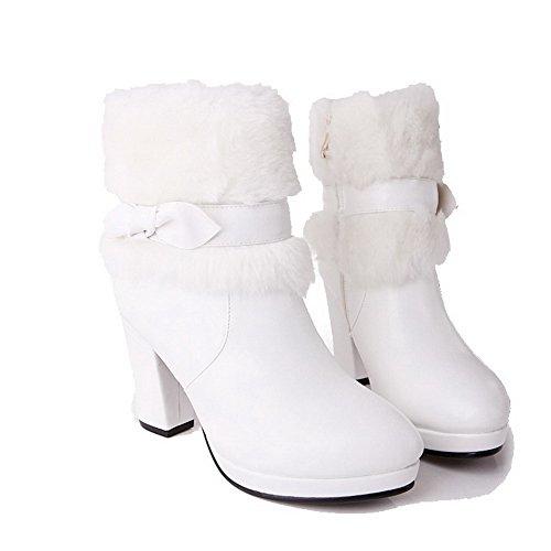 VogueZone009 Damen Blend-Materialien Schließen Zehe Niedrig-Spitze Hoher Absatz Stiefel Weiß-Schleife