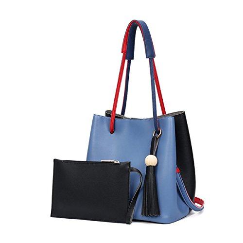 Damen Handtaschen Schultertasche Top Griff Geldbörsen Designer-Taschen-Tasche 2 Taschen Set Damen Blue