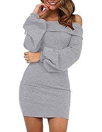 Elecenty Damen Langarmkleid Schulterfrei Partykleid Bodycon Minikleid  Mantel Solide Rock Mädchen Kleider Frauen… 79d4e8b505