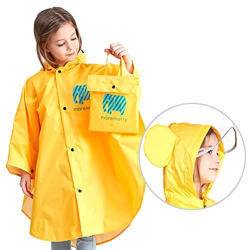 Jteng poncho impermeabile per bambino, poncho antipioggia cappello allargato bambino con strisce riflettenti, riutilizzabile impermeabile bambino pioggia (s, giallo)