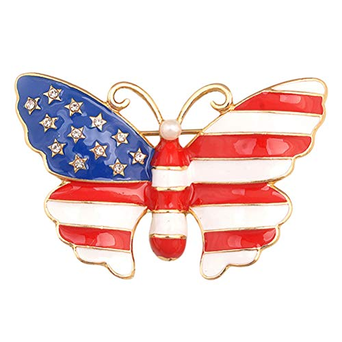 hmetterling Drip Animal USA Flagge Brosche Pins Strass Schmuck 3 STÜCKE ()