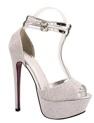 Silber Sexy Schuhe (Elara Plateau Pumps | Party Stiletto High Heels | T-Strap Riemchen Glitzer Farbe Silber, Größe)