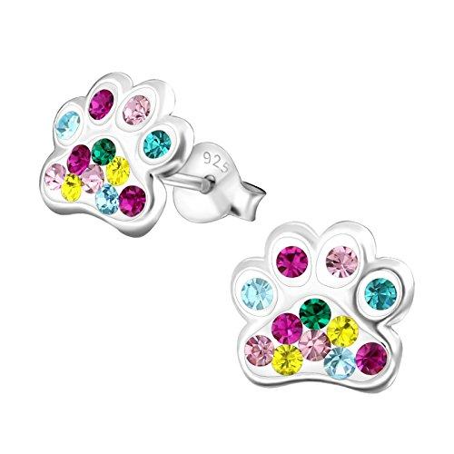 s Kinder-Ohrstecker Ohrringe Kinderschmuck Hundepfote Pfote Pfötchen Tatzen mit Glitzer Bunt 9mm aus Sterling Silber 925 ()