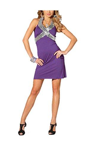 Melrose Damen-Kleid Kleid mit Pailletten Violett Größe 38