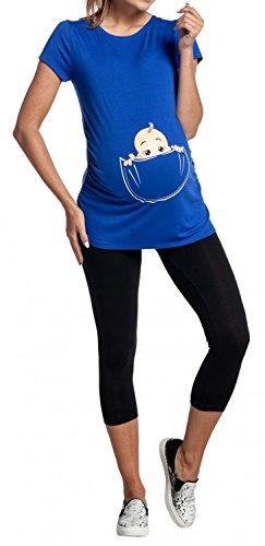 Happy Mama. Damen Baby in der Tasche T-Shirt Top Oberteil für Schwangere. 501p Königsblau