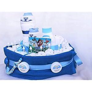 Windeltorte - Windelschiff mit Schnullerkette - Geschenk zur Taufe - Geburt oder Babyparty
