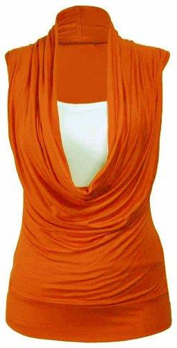 Nuovo da donna elasticizzato Contrasto Strato Cowl Neck Tops 16–26 Arancione