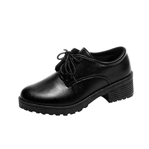 ZODOF Zapatos Botas de Invierno para Mujer Zapatos de Mujer de Moda Zapatos Planos de Cuero de Oxford de Tobillo Plano Botas Cortas