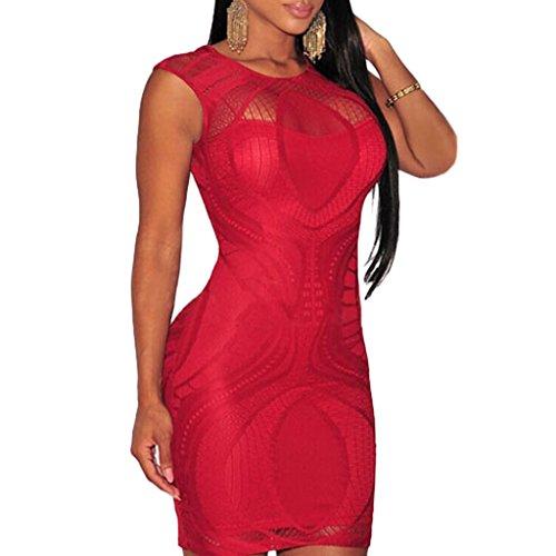 ABILIO - vestito donna pizzo minivestito elegante abito party vestitino festa mini aderente Rosso