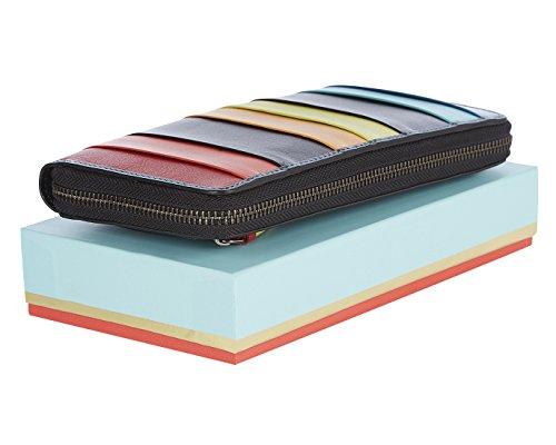 """Visconti portafoglio di pelle da donna a piegatura doppia """"Spectrum"""" Multicolor XL Purse (SP33): Santorini Black"""