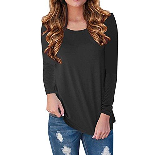 DOLDOA Femmes Dames À Manches Longues Imprimé Blouse Tops Vêtements T-shirt Noir