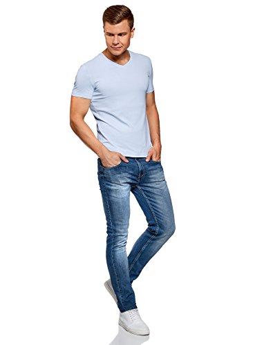 oodji Ultra Uomo T-Shirt Basic con Scollo a V senza Etichetta Blu (7000N)