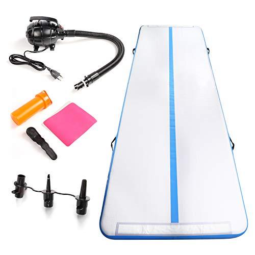 CCLIFE Tappetino da Gonfiabile 300x100x10cm Mat Air Tumbling Track con Pompa Elettrica per Ginnastica/Yoga/Taekwondo/Materassino da Campeggio/Piscina, Colore: Blu