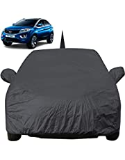 Autofact Car Body Cover for Tata Nexon with Mirror and Antenna Pocket (Light Weight, Triple Stitched, Heavy Buckle, Bottom Fully Elastic, Grey)