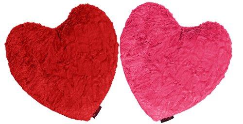 Fluffy Herzkissen ca. 40 x 35 cm kuschelweicher Plüsch in Felloptik (kuschelig gefüllt) Farbe (Rot)