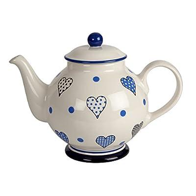 Fairmont & Main 1.3Litre Crème avec Hearts Bleu Faïence Théière