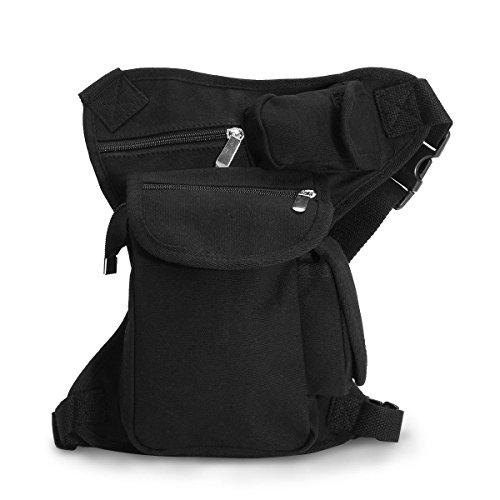 CAMTOA Canvas Borsa da Gamba Marsupio /Drop Leg Bag / Leg Bags / Waist Belt per Trekking Outdoor Sport Bicicletta Viaggio Militare Sportivo soft air Corsa Marsupio Tasca nero