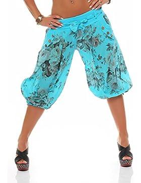 malito corto Aladin pantalón con Cinturón Boyfriend Bombacho Harem Baggy Yoga 3415 Mujer Talla Única