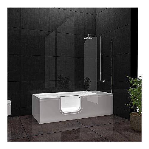 Vitra Combo Badewanne links aus Sanitäracryl, Seniorenbadewanne mit Tür Seitenschürze links 1 Glastür aus Sicherheitsglas (ESG) 10 mm | liegend| Fußgestell Inklusive Ab- und Überlaufgarnitur Weiß