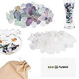 ECO-FUSED Piedras de Cristal Pulidas Fluorita y Cuarzo - Piedras Naturales con Formas Irregulares para Arte, Manualidades, Joyería, Decoración y Más - Decoración para Acuarios, Plantas y Velas