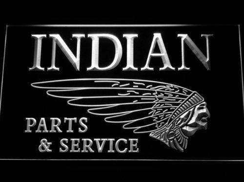 Indian Motorcycle Parts & Services LED Zeichen Werbung Neonschild Weiß