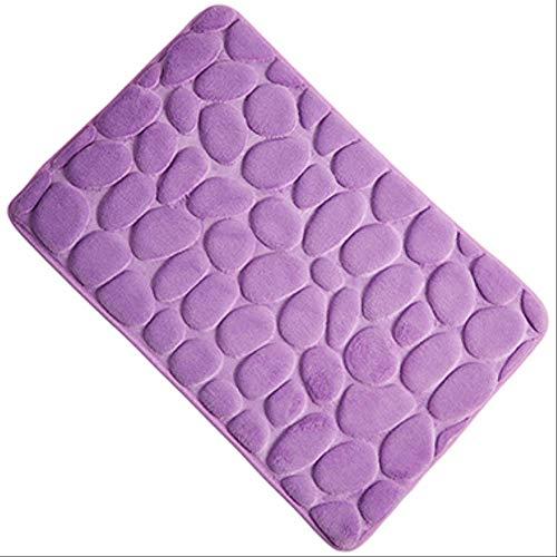 CHYSFHD Badematte 3D Stein Bad Matte 40 * 60 cm Schaum Speicher Matten Bad Teppich Für Boden Badematte rutschfeste Carpet Fußmatte 400Mm X 600Mm Violett -