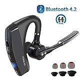 DUTISON Auricolare Bluetooth Senza Fili con 95% Cancellazione del Rumore e Doppio Microfono Mani libere V4.2 Cuffie Bluetooth,Supporto Orecchio Sinistro/Destro,Auricolare Wireless Smartphone.