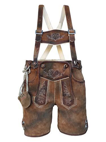 Kinder Trachten Lederhose, kurz mit Träger, Dino, Echtes Leder, Weiches Veloursleder, Braun, Gr 86 bis 164 (Gr.92)