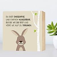 Wunderbar-Hase - Holzbild 15x15x