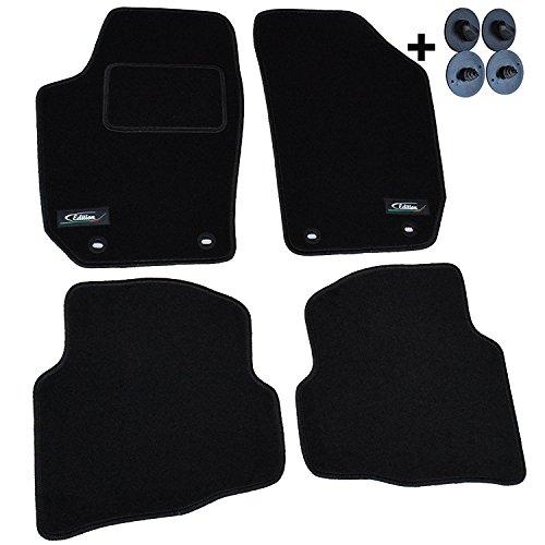 AME Auto-Fußmatten Velours mit schwarzer Kettelung, Edition Logo und eingearbeiteten Trittschutz inkl. ovale Befestigungen 4304BKL (Matte Ovale)