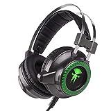 Morease Casque Gaming pour PS4, Casque Gamer PC,Xbox One, Bass Surround + Microphone à Réduction du Bruit+ LED Lumière [2018 Nouvelle Version] (Vert)