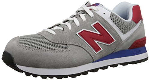 New Balance ML574 Herren Sneakers, Grau (Grey/Red), 40.5