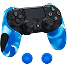 Pandaren® silicona grueso medio Fundas Protectores el mando PS4 (negro) x 1 + thumb grip x 2