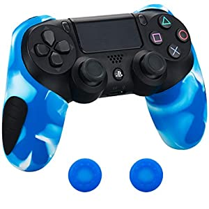 Pandaren® silikon dickere gälfte skin hülle Schutzhülle für PS4 controller (weiß blau) x 1 + thumb grips aufsätze x 2